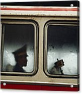 A Chinese Pla Soldier Sits On A Bus Acrylic Print