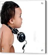 A Chubby Little Girl With Headphones Acrylic Print