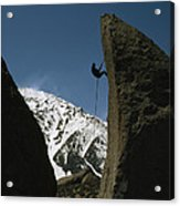 A Climber Rappels Off Grandma Boulder Acrylic Print