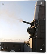 A Close-in Weapons System Fires A Burst Acrylic Print