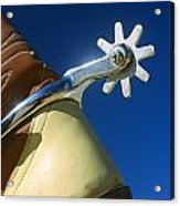 A Close-up Of A Shiny Silver Spur Acrylic Print