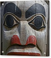A Close View Of The Carvings Of A Totem Acrylic Print