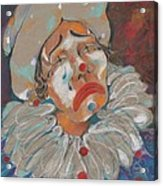 A Clown Face Acrylic Print by Mary Armstrong