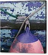 A Colorful Buoy Hangs From Ropes Acrylic Print