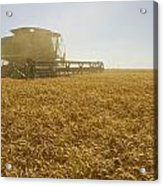 A Combine Harvester Works A Field Acrylic Print