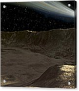 A Comet Passes Over The Surface Acrylic Print by Ron Miller