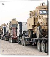 A Convoy Of Mine-resistant Ambush Acrylic Print by Stocktrek Images