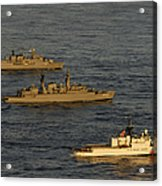 A Convoy Of Naval Ships Move Acrylic Print