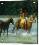 A Couple Rides A Horse In A Shallow Acrylic Print