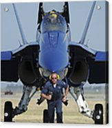 A Crew Chief Sprints Ahead Of A Blue Acrylic Print