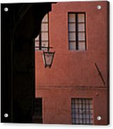 A Dark Alley Way Leads To A Lit Brick Acrylic Print