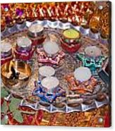 A Decorated Hindu Prayer Thaali With Wax Candles Oil Lamps Acrylic Print
