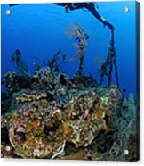 A Diver Hangs On To A Piece Of Ww2 Acrylic Print