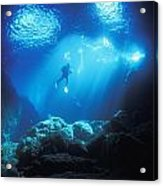 A Diver Hovers Inside The Archway As Acrylic Print