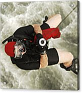 A Diver Is Hoisted Aboard An Sh-60f Acrylic Print