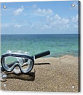A Diving Mask And Snorkel On A Rock Near The Sea Acrylic Print by Caspar Benson