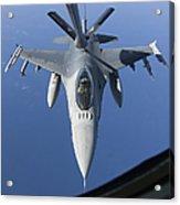 A Dutch F-16am Conducts In-flight Acrylic Print