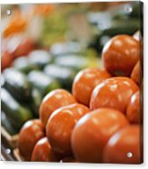 A Farm Stand Display Of Fresh Produce Tomatoes And Cucumbers Acrylic Print