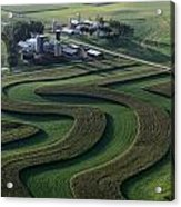 A Farm With Curved And Twisting Fields Acrylic Print