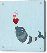 A Fish Blowing Love Heart Bubbles Acrylic Print