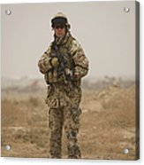 A German Army Soldier Armed With A M4 Acrylic Print