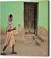 A Girl By A Door Acrylic Print