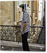 A Gondolier In Venice Acrylic Print