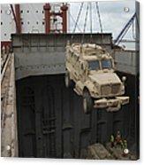 A Harbor Crane Lifts A Mine-resistant Acrylic Print
