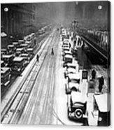 A Heavy Snowfall, 42nd Street, Looking Acrylic Print