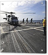 A Helicpter Sits On The Flight Deck Acrylic Print