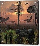 A Herd Of Allosaurus Dinosaur Cause Acrylic Print