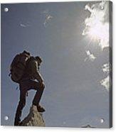 A Hiker Rests Atop A Huge Granite Acrylic Print