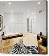 A Home Office. A Black And White Zebra Acrylic Print