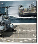 A Hovercraft Approaches Uss New Orleans Acrylic Print