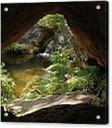 A Huge Hole In Rock With A Water View Acrylic Print
