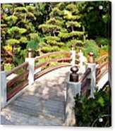 A Japanese Garden Bridge From Sun To Shade Acrylic Print