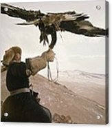 A Kazakh Hunter Strains To Support Acrylic Print