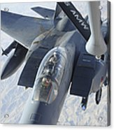 A Kc-135 Stratotanker Refuels An F-15e Acrylic Print by Stocktrek Images