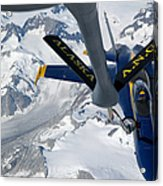 A Kc-135 Stratotanker Refuels An Fa-18 Acrylic Print by Stocktrek Images