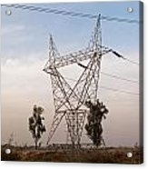 A Large Steel Based Electric Pylon Carrying High Tension Power Lines Acrylic Print