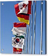 A Line Of Flags Represent The Countries Acrylic Print