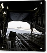 A Loadmaster Guides The Pilot Of A C-17 Acrylic Print