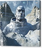 A Lone Astronaut Stares At A Statue Acrylic Print