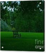 A Lonely Autumn Bench  Acrylic Print