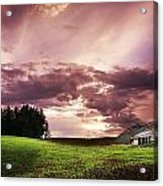 A Lonely Farm Building In An Open Field Acrylic Print