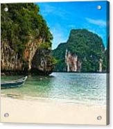 A Long Tail Boat By The Beach In Thailand  Acrylic Print