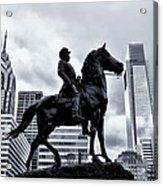 A Man A Horse And A City Acrylic Print