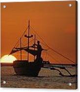 A Man And An Outrigger Silhouetted Acrylic Print