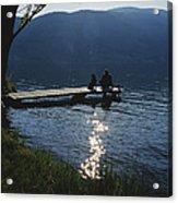 A Man And His Dog On A Lake Skaha Dock Acrylic Print