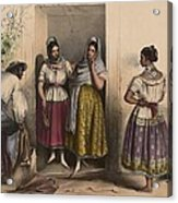 A Man And Three Women From Puebla Acrylic Print